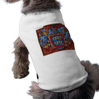 Escudo de armas medieval playera sin mangas para perro