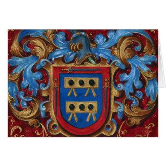 Escudo de armas medieval tarjeta de felicitación