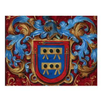 Escudo de armas medieval tarjeta postal