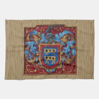 Escudo de armas medieval toalla de cocina