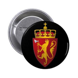 Escudo de armas noruego pin redondo de 2 pulgadas