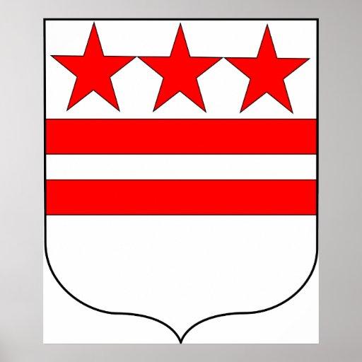 Escudo de armas oficial de la familia de George Wa Póster