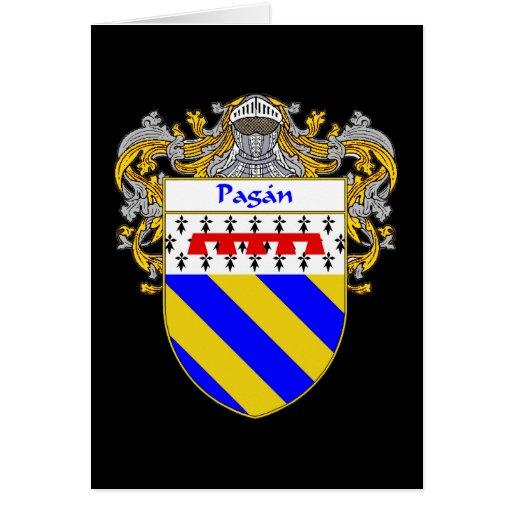Escudo de armas pagano (cubierto) tarjeta de felicitación