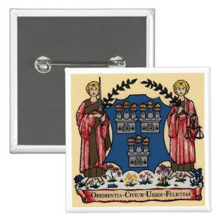 Escudo de armas para Dublín, Irlanda Pin Cuadrada 5 Cm