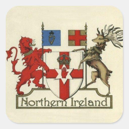 Escudo de armas para Irlanda del Norte Calcomanía Cuadrada Personalizada