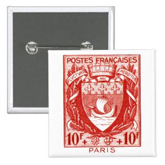Escudo de armas París, Francia Pin Cuadrada 5 Cm
