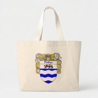 Escudo de armas Phillips (cubierto) Bolsa Tela Grande