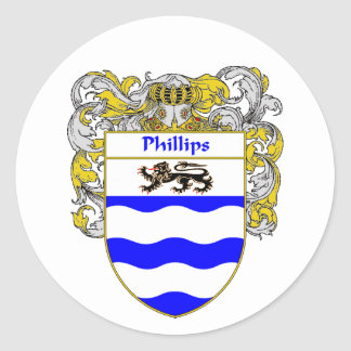 Escudo de armas Phillips (cubierto) Pegatina Redonda