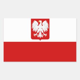 Escudo de armas polaco de la bandera pegatina rectangular