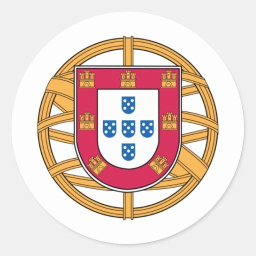 Escudo de armas portugués pegatina redonda