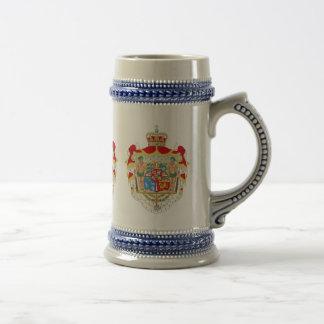 Escudo de armas real danés del vintage de jarra de cerveza