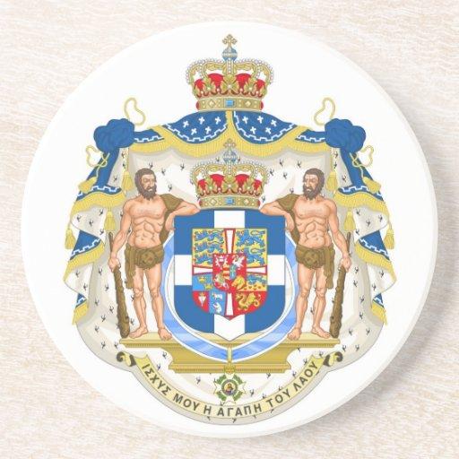 Escudo de armas real griego - Grecia Posavasos De Arenisca