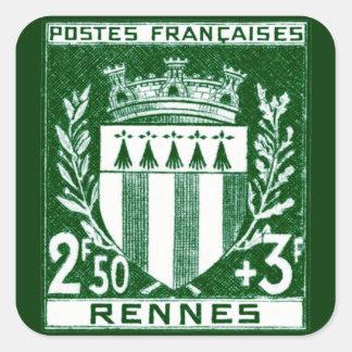 Escudo de armas Rennes, Francia del vintage Calcomanías Cuadradas Personalizadas
