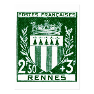 Escudo de armas Rennes, Francia del vintage Postal