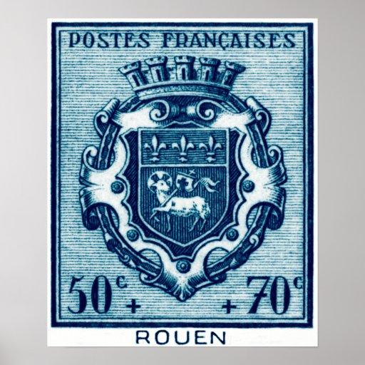 Escudo de armas Ruán, Francia del vintage Poster