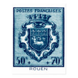 Escudo de armas Ruán, Francia del vintage Tarjeta Postal