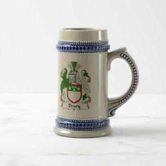 Escudo de armas Stein - escudo de Drury de la fami Jarra De Cerveza