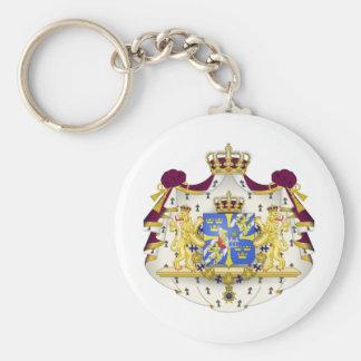 Escudo de armas sueco llavero redondo tipo pin
