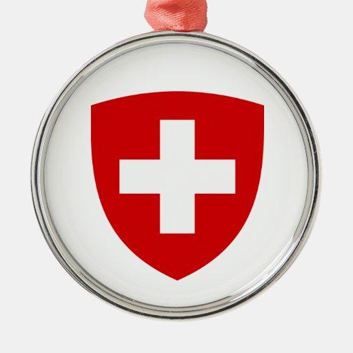 Escudo de armas suizo - recuerdo de Suiza Adorno Navideño Redondo De Metal