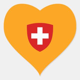 Escudo de armas suizo - recuerdo de Suiza Pegatina De Corazon Personalizadas