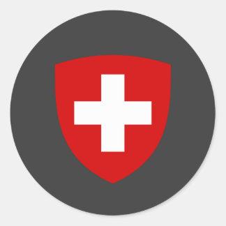 Escudo de armas suizo - recuerdo de Suiza Etiqueta Redonda