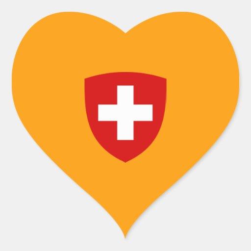 Escudo de armas suizo - recuerdo de Suiza Pegatina En Forma De Corazón