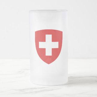 Escudo de armas suizo - recuerdo de Suiza Taza De Cristal