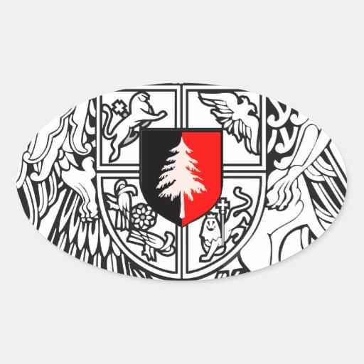 Escudo de armas tieso de la competencia de pegatina ovalada