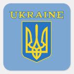 Escudo de armas ucraniano del estado pegatinas cuadradases personalizadas