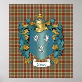 Escudo de armas y tartán de Gibson Poster
