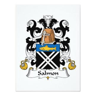 """Escudo de color salmón de la familia invitación 6.5"""" x 8.75"""""""
