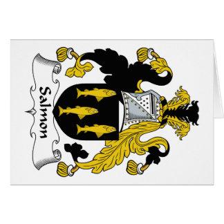 Escudo de color salmón de la familia tarjeta de felicitación