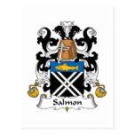 Escudo de color salmón de la familia tarjetas postales