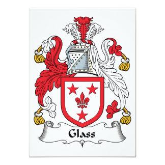 """Escudo de cristal de la familia invitación 5"""" x 7"""""""