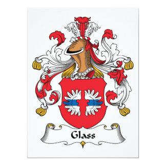 """Escudo de cristal de la familia invitación 6.5"""" x 8.75"""""""