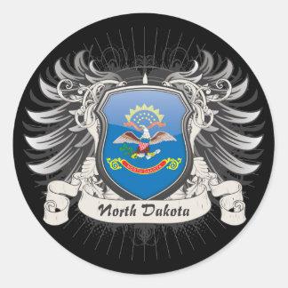 Escudo de Dakota del Norte Etiquetas Redondas