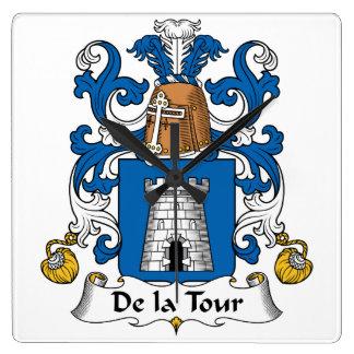Escudo de De la Tour Family Reloj Cuadrado