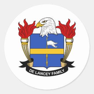 Escudo de De Lancey Family Pegatina Redonda