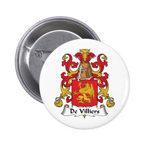 Escudo de De Villiers Family Pin Redondo 5 Cm