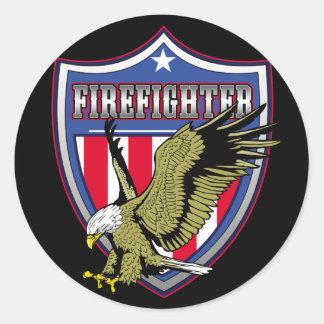 Escudo de Eagle del bombero Pegatina Redonda