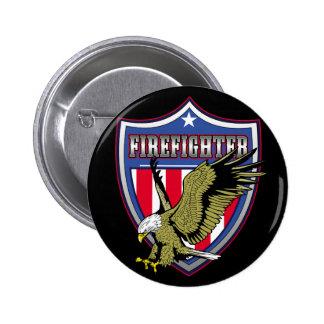 Escudo de Eagle del bombero Pin Redondo De 2 Pulgadas