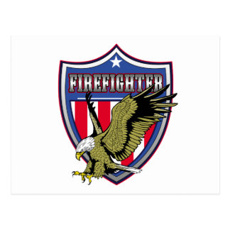 Escudo de Eagle del bombero Tarjetas Postales