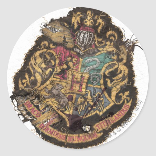 Escudo de Hogwarts - destruido Pegatina Redonda