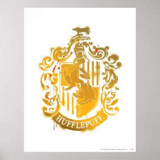 Escudo de Hufflepuff - salpicado Póster