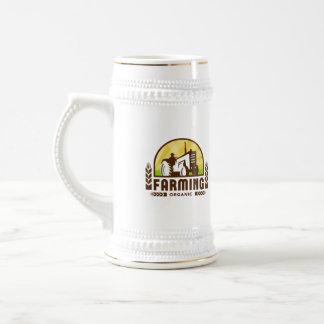 Escudo de la agricultura biológica del trigo del jarra de cerveza