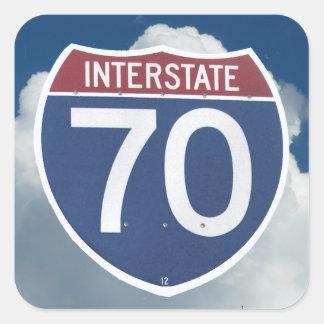 Escudo de la autopista 70 de los E.E.U.U., muestra Pegatina Cuadrada