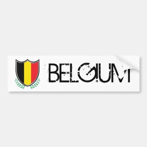Escudo de la bandera de Bélgica con la pegatina pa Etiqueta De Parachoque