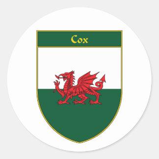 Escudo de la bandera de $cox Galés Pegatinas Redondas