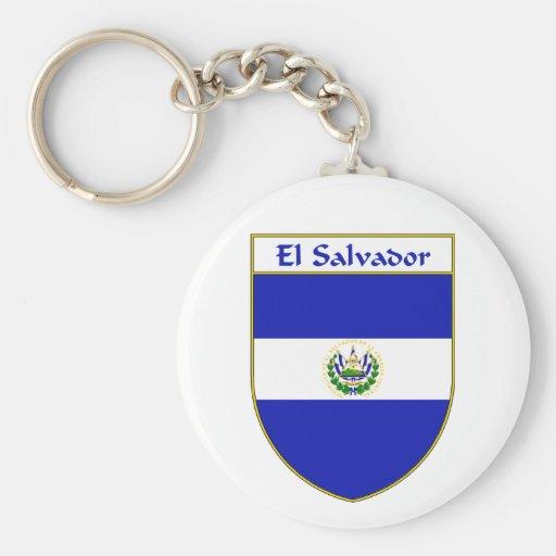 Escudo de la bandera de El Salvador Llavero Redondo Tipo Pin