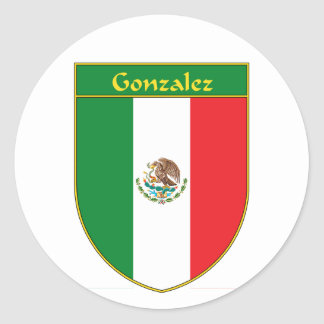 Escudo de la bandera de Gonzalez México Pegatina Redonda